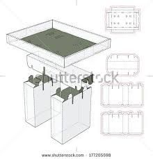 Stand displays template display and packaging pinterest tray display stand assembly with die cut blueprint layout stock vector malvernweather Images