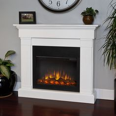 Real Flame Crawford Slim Line White Electric 47.4-inch Fireplace