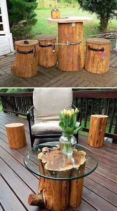 DIY Tree Log Ideas for Your Garden Wooden Tree Logs Turned Into an Exotic Coffee Table.Wooden Tree Logs Turned Into an Exotic Coffee Table. Log Projects, Diy Garden Projects, Garden Crafts, Outdoor Projects, Projects For Kids, Log Furniture, Garden Furniture, Outdoor Furniture, Furniture Projects
