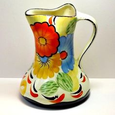 "Vintage, Art Deco, 1930s, Wade ""Pinch"" Jug /Vase, Hand Painted Floral, Staffordshire."