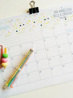 Calendrier mensuel 2016 à imprimer par Momes