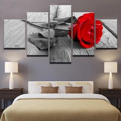 Bedroom wall frames 5 panel framed wall art flower picture rose painting canvas prints home decoration Bedroom Red, Home Decor Bedroom, Bedroom Wall, Living Room Decor, Living Room Modern, Living Room Designs, Grey And Red Living Room, Modern Wall, Plafond Design