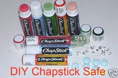 DIY Chapstick Safe: When the chapstick is almost empty, pop the bottom end off. Untwist it so the corkscrew bit comes out. Cut the corkscrew part off, and voila! Perfect for jewelry, money, medicine- or anything else you can think of!