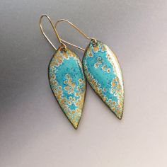 Gold and blue leaf dangle earrings lightweight 14k by OxArtJewelry,