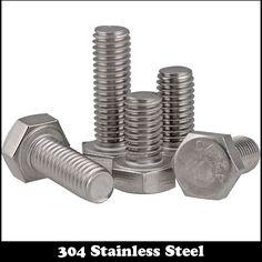 4pcs M5 100mm M5*100mm 304 Stainless Steel SS DIN933 Full Thread HEX Hexagon Head Screw #Affiliate