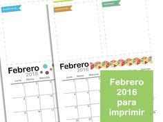 Mes de Febrero 2016 para imprimir. Organización. Calendario