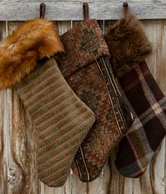 RUSTIC HOLIDAY STOCKINGS: Mountain lodge fabrics and fur