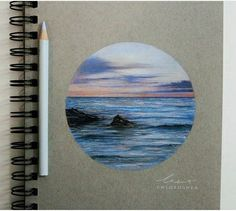 Quick drawing of a photo I took of Casuarina Beach just after sunset 🔅 🌅 [I used Polychromos pencils on Strathmore paper] Colored Pencil Artwork, Color Pencil Art, Colored Pencils, Ocean Drawing, Painting & Drawing, Realistic Drawings, Colorful Drawings, Crayon Drawings, Art Drawings
