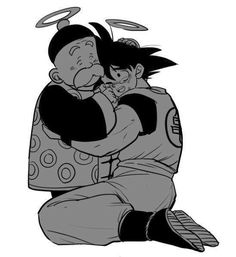 Grandpa Gohan and Goku. Awh gods. You never think about it but Grampa Gohan is  probably watching Goku form heaven
