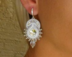 Clear crystal earrings, White earrings, Soutache earrings, Silver earrings, Small elegant earrings, Winter earrings, Chrismas gift for women White Earrings, Crystal Earrings, Soutache Earrings, Clear Crystal, Gifts For Women, Belly Button Rings, Jewelry Design, Jewellery, Crystals