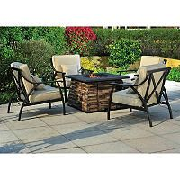 Wishbone 5 pc. Fire Chat Set - Liquid Propane Fire Pit with Cover and 4 Chairs - Sam's Club