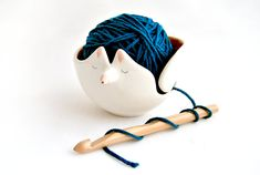 Knitting is great until everything gets tangled. Save a friend from yarn distress with the help of this adorable little fox.  Grab it here: Ceramic Fox Knitting Bowl, $31