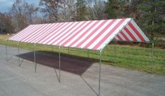 18-Ft. x 40-Ft. Canopy by Harpster. $635.00. 17 gauge Galvanized Steel Frame. Size: 18' x 40'. Red & White Stripe Top. Great for Parties!. Outdoor Canopy for parties and many other uses.