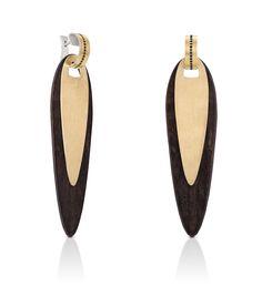 Серьги Tous - 18 кт желтое золото, серебро, покрытое золотом, эбеновое дерево, бриллианты 0.20 кт