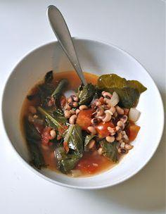 Collard greens and purple hull peas soup