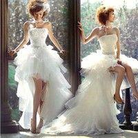 fashion short after long trailing wedding dress beforePrincess