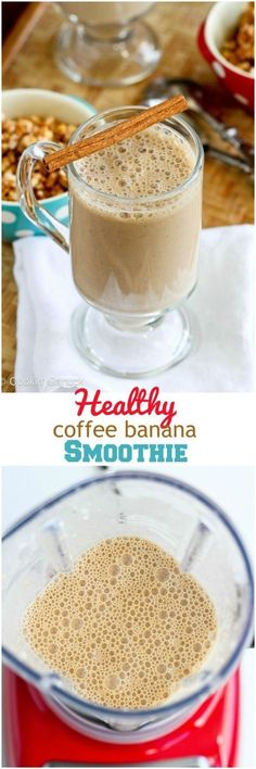 Healthy Coffee Banana Smoothie Recipe...126 calories and 3 Weight Watchers PP | www.cookincanuck.com #healthysmoothies