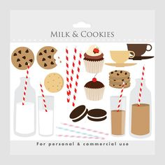 Milk and cookies sweets clipart - clip art milk, biscuits, cookie, striped straws, red, brown, cream, cupcakes, teacups, chocolate milk. $3.40, via Etsy.