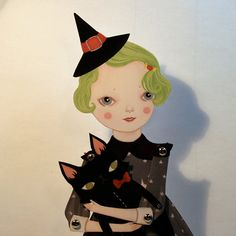 Sour Apple Souffle articulated witch paper doll by woolandwater