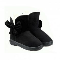 $17.93 Sweet Women's Snow Boots With Solid Color and Bows Design