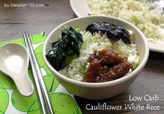 Cauliflower rice is a great substitute to normal white rice which is high in carb. It is easy to prepare and you can serve it as white rice with other low carb dishes. Snacks For Work, Healthy Work Snacks, Healthy Meals For Two, Diet Snacks, Healthy Foods To Eat, Healthy Dinner Recipes, Low Carb Recipes, Diet Recipes, White Rice Recipes