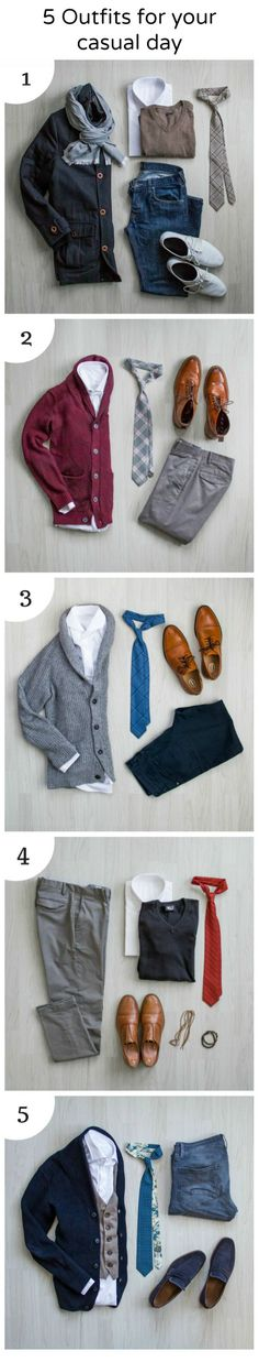5 outfits for your casual day. Men outfit inspiration. Outfit ideas for men.