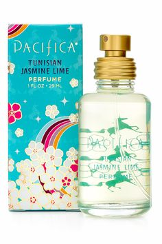 "Pacifica Tunisian Jasmine Lime: ""Limes, jasmine and lush orange flowers bloom in this fresh, bright, magical scent that is wearable all year. An intoxicating aura for the most fearless and adventurous free spirits."""