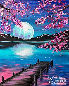 Paintings – 2 Hour on Creatively Uncorked Simple Canvas Paintings, Small Canvas Art, Diy Canvas Art, Acrylic Painting Canvas, Easy Paintings, Sunset Paintings, Lake Painting, Moon Painting, Galaxy Painting