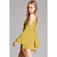 Forever21 Satin Open-Shoulder Romper ($45) ❤ liked on Polyvore featuring jumpsuits, rompers, satin rompers, satin cami, surplice romper, satin camisole and bell sleeve rompers