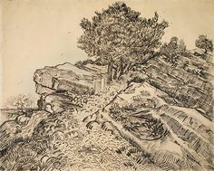 Van Gogh sketch for The rock of Montmajour with pine trees