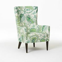 love this green leaf pattern by Sarah Campbell for West Elm // wing chair #green #chair