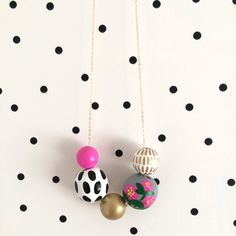No. 76 // Hand Painted Wooden Bead Necklace by shoplulapearl
