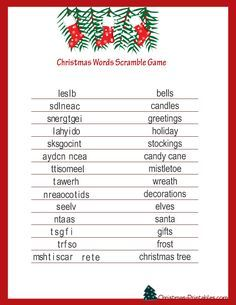 free printable christmas games for adults - Google Search
