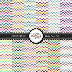 Digital Paper Pack  Multicolored Chevron by StripedElephants, $5.20