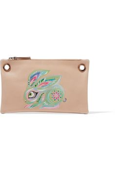 The Row's playful pouch features a pastel rabbit motif that has been meticulously painted by a skilled artisan. Made in Italy from versatile sand leather, it has a suede-lined interior for storing small essentials. Attach the removable silver chain strap to carry it over your shoulder.