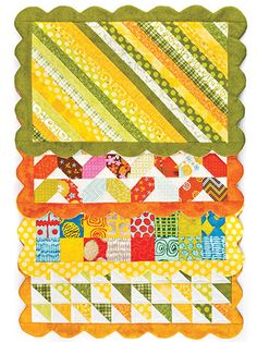 A great way to use up your small scraps! Featuring 4 different place mat designs to use up a large quantity of your scraps, this sewing pattern is sure to