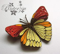 Butterfly by pinterzsu on DeviantArt Neli Quilling, Quilling Butterfly, Paper Quilling Patterns, Origami And Quilling, Quilled Paper Art, Quilling Flowers, Quilling Designs, Paper Flowers, Quilling Ideas