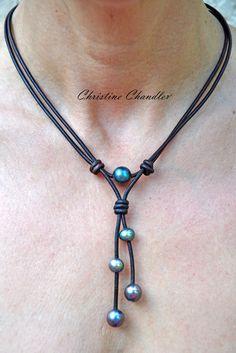 El Lariat de Lanikai - perla y collar de lazo de cuero - perla y colección de joyas de cuero