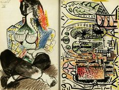 Pablo Picasso Sketchbook - complete portfolio of 40 lithographs in spiral binder printed in colour) after the original sketches - edition of 1000 ex. - New York/ Paris, H. Pablo Picasso, Kunst Picasso, Art Picasso, Picasso Drawing, Picasso Paintings, Abstract Paintings, Oil Paintings, Painting Art, Landscape Paintings