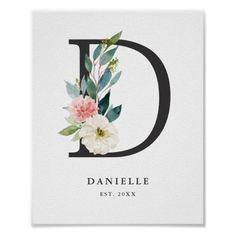 Shop Monogram Art Print, Letter D, Wedding, Nursery Poster created by BeachDivasDesign.