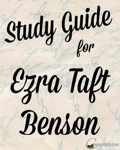 Love this! Prepare for each Sunday with these amazing study suggestions that go with each Ezra Taft Benson chapter!