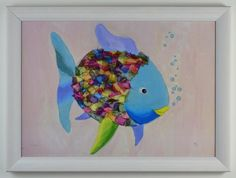 "£35 ""Rainbow Fish"" - sea/nautical theme nursery wall art in white, nordic style frame - suitable for boy or girl nursery - LIMITED EDITION SIGNED AND NUMBERED PRINT - ONLY 20 AVAILABLE #nurseryart #nursery decor"