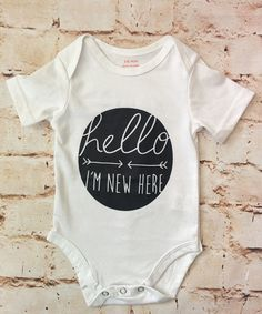 Hello I'm New Here Onesie - White (Infant) available at RoseGoldVintage.com