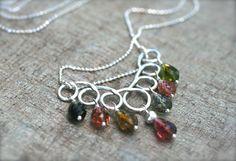 Tourmaline Gemstone Sterling Silver Handmade Necklace 16 di MindyG