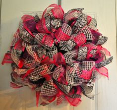 Deco mesh  Hot pink, black, white ribbons MADE BY LW