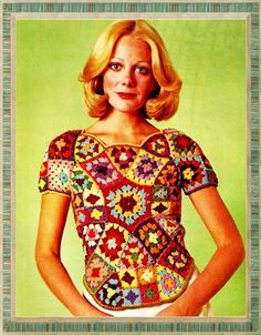 Vintage Granny Squares Crochet Blouse Sweater - Vintage Pattern - PDF Instant Download - Fitted Sweater Crochet Pattern - Digital Pattern di GrandmaHadItGoinOn su Etsy https://www.etsy.com/it/listing/204321008/vintage-granny-squares-crochet-blouse