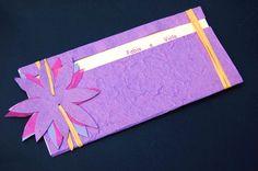 partecipazione fatta a mano viola - hand made violet invitation (impronte sule nuvole)