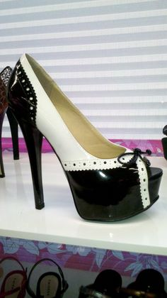 Chinese Laundry Shoes - Black and White Pumps with Wig Tip Details