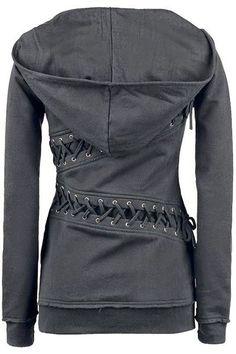 Trendy capuche manches longues en dentelle-Up Hoodie des femmes de couleur unie