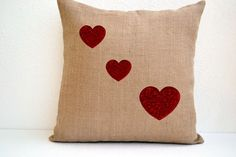 Love is in the air -  Burlap Pillow covers - Sequin Throw pillows | AmoreBeaute - Housewares on ArtFire